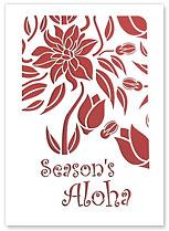 Season's Aloha Hawaiian Rose - Hawaiian Holiday Christmas Greeting Cards