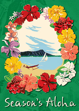 Hawaiian Christmas Lei - Personalized Holiday Greeting Card