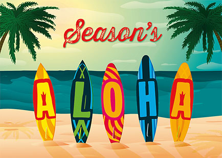 Holiday Aloha Surfboards - Personalized Holiday Greeting Card