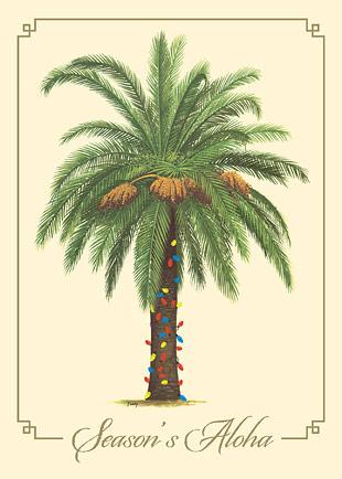 Season's Aloha Palm - Personalized Holiday Greeting Card