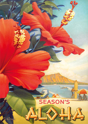 Hibiscus Beach Day - Personalized Holiday Greeting Card
