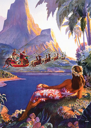 Santa Flies to South Seas - Personalized Holiday Greeting Card