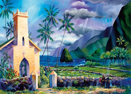 Father Damien's Church - Hawaiian Holiday / Christmas Greeting Card