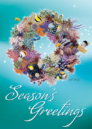 Coral Wreath - Personalized Holiday Greeting Card