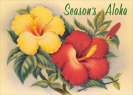 Hawaiian Hibiscus - Personalized Holiday Greeting Card