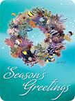 Coral Wreath - Hawaiian Holiday / Christmas Mini Greeting Card Set