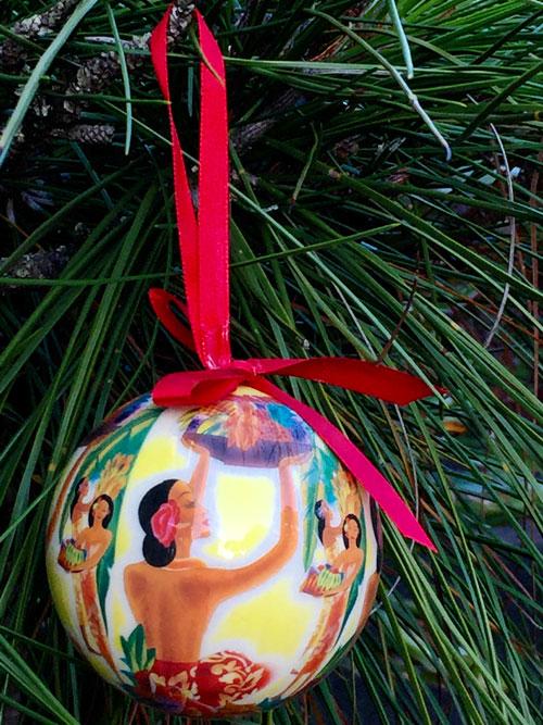 hawaiian holiday ball christmas ornaments - set of 7