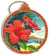 Red Hibiscus - Holiday Christmas Ornament