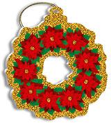 Poinsettia Wreath - Holiday Christmas Ornament