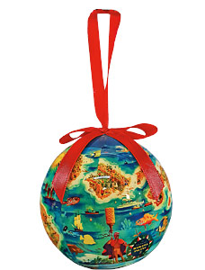 Dole Map of the Hawaiian Islands - Hawaiian Boxed Ball Christmas Ornaments