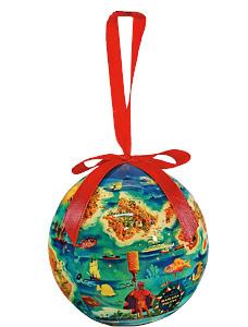 Dole Map of the Hawaiian Islands - Hawaiian Boxed Ball Christmas Ornaments