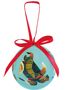 Pacific Islands Turtle - Hawaiian Boxed Ball Christmas Ornaments