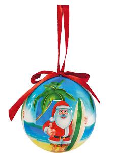Tropical Beach Santa - Hawaiian Boxed Ball Christmas Ornaments