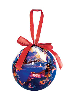 Santa Flies to South Sea Isles - Hawaiian Boxed Ball Christmas Ornaments