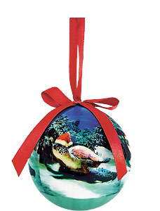 Turtle Santa - Hawaiian Boxed Ball Christmas Ornaments
