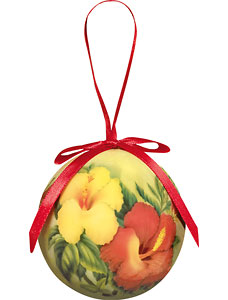 Hibiscus - Hawaiian Boxed Ball Christmas Ornaments