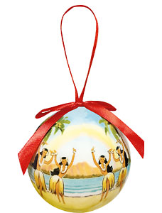 Rainbow Over Hawaii - Hawaiian Boxed Ball Christmas Ornaments