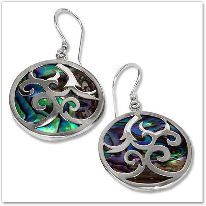 Abalone Shell & Sterling Silver Earrings - Island Jewelry