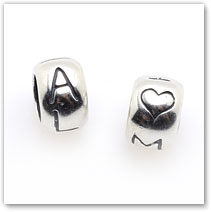 Aloha / Maui - Tiny Bead pair - Pair of Silver Charms