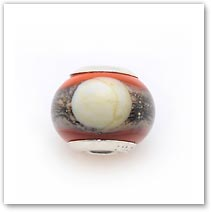 Double Coral Moon - Glass Bead
