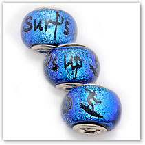 Surf's Up - Blue - Glass Bead