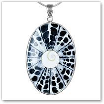 Resin Spiral Shell Shiva Pendant - Island Jewelry