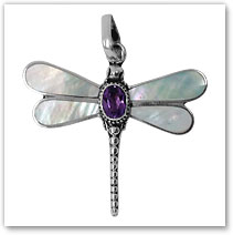 Dragonfly Pendant #1 w/Light colored Abalone Shell and Garnet inset - Island Jewelry