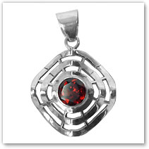 Tri-circle pendant w/ Garnet inset - Island Jewelry