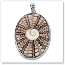 White Resin, Cat's Eye & Sterling Silver Pendant - Island Jewelry