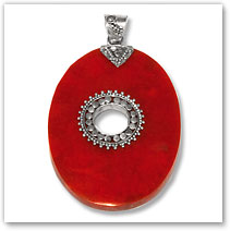 Red Resin & Sterling Silver Pendant - Island Jewelry