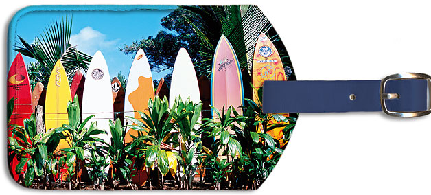 Leatherette Luggage Tags Old Surfboards Never Die Hawaii