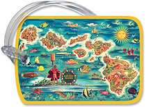 Dole Map of Hawaii - Hawaiian Vintage Luggage Tag