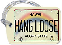 Hang Loose License Plate - Hawaiian Vintage Luggage Tag