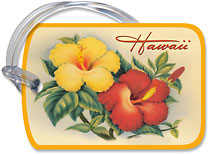 Hawaiian Hibiscus - Hawaiian Vintage Luggage Tag