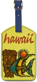 Hawaii, Fish & Tiki - Hawaiian Leatherette Luggage Tags