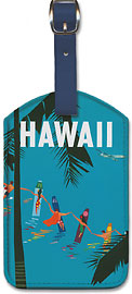 Pan American, Hawaii - Surfers Holding Hands - Hawaiian Leatherette Luggage Tags