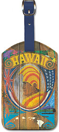 Hawaii - Wood Panel Sign - Hawaiian Leatherette Luggage Tags
