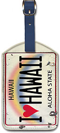 I Heart Hawaii License Plate - Hawaiian Leatherette Luggage Tags