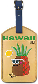 Pan Am Hawaii Pineapple Head - Hawaiian Leatherette Luggage Tags