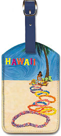Hawaii Flower Leis - Hawaiian Leatherette Luggage Tags