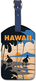 Hawaii - The Honolulu Hicki-Boola-Boo - Hawaiian Leatherette Luggage Tags