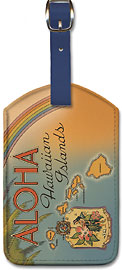 Aloha Hawaiian Islands - Hawaiian Leatherette Luggage Tags