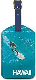 Hawaii - Surfer - Hawaiian Leatherette Luggage Tags
