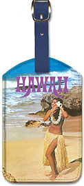 Hawaii Hula Girl On The Beach - Hawaiian Leatherette Luggage Tags