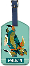 Pacific Islands Turtle - Vintage Hawaiian Art Leatherette Luggage Tags