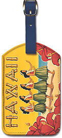 Hawaii - Hula Dancers - Vintage Hawaiian Art Leatherette Luggage Tags