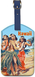 Hawaii Hula Dancers - Hawaiian Leatherette Luggage Tags