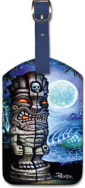 Full Moon Tiki - Hawaiian Leatherette Luggage Tags