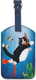 Snorkel Kitty - Hawaiian Leatherette Luggage Tags