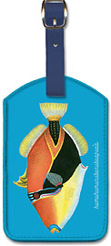 Humuhumunukunukuapua'a - Humuhumu Engraving, Hawaii State Fish - Hawaiian Leatherette Luggage Tags